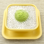 Basil Seed in Vanilla Sauce with Green Tea Ice Cream